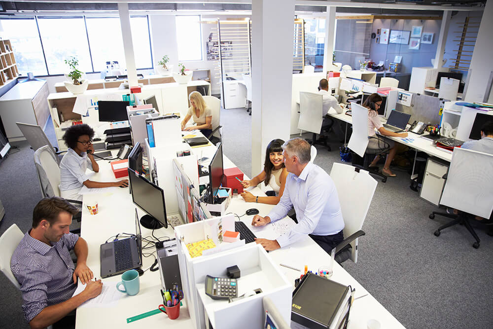 people in a busy office